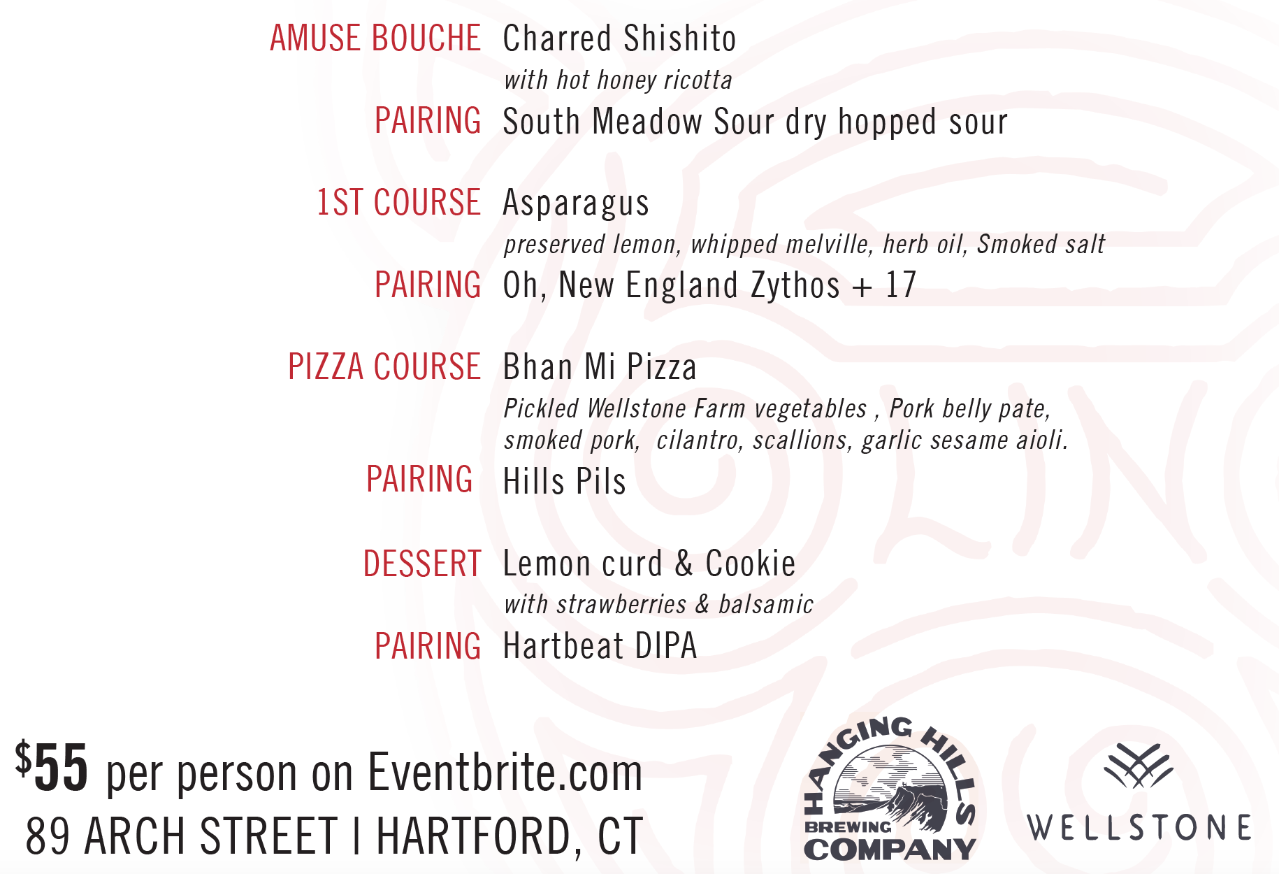 Blind Pig & Hanging Hills Farm Dinner Menu Benefiting Wellstone Farm