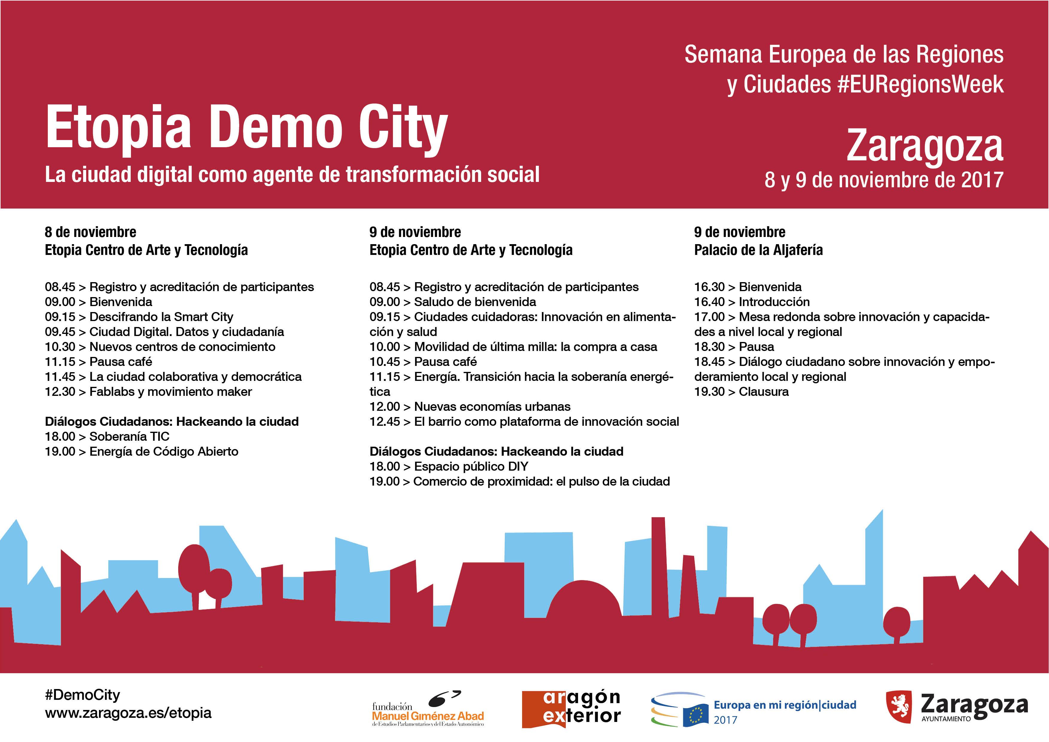 Programa Etopia Demo City 8 y 9 Noviembre, Zaragoza