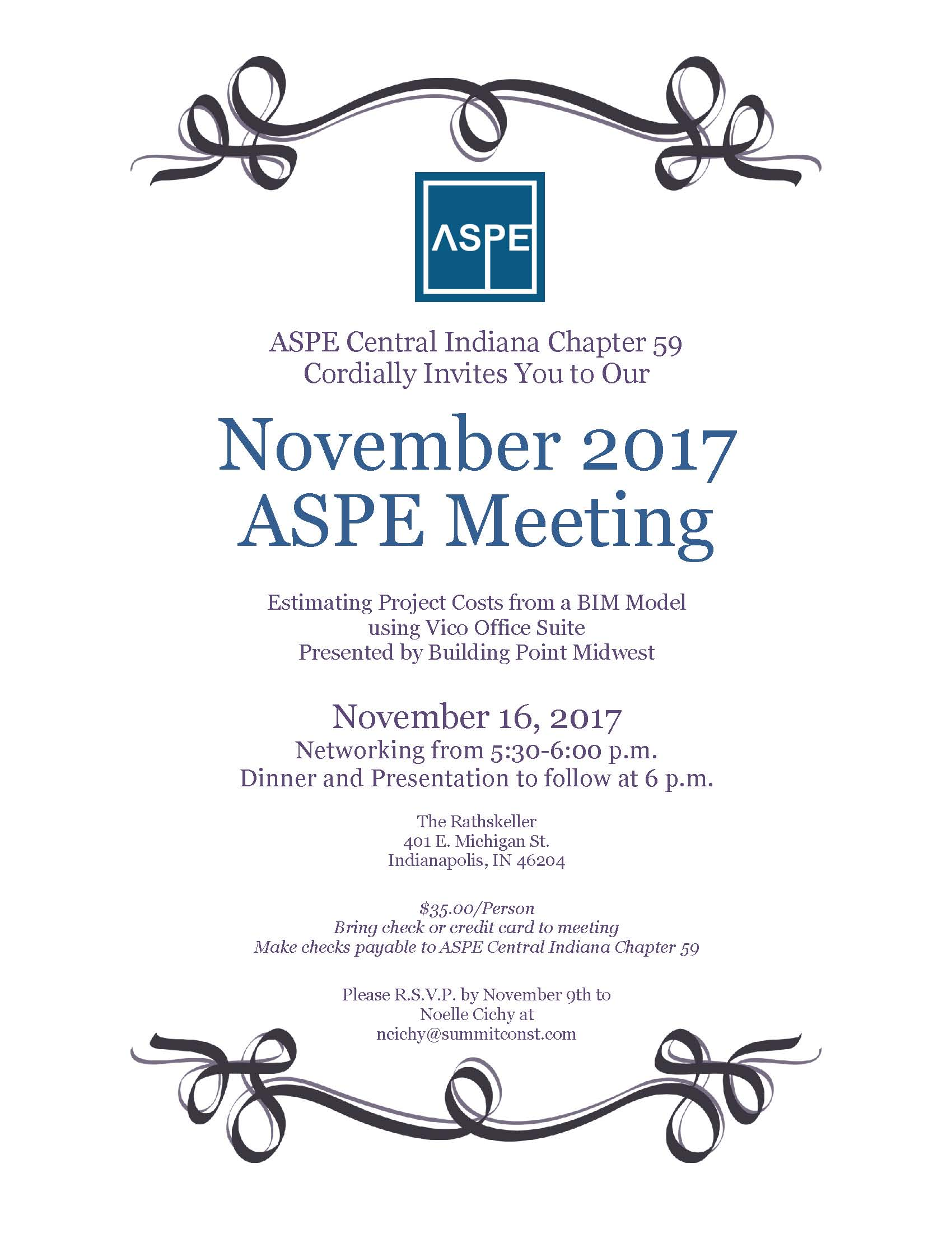 ASPE Central Indiana Chapter 59 November Meeting Invite