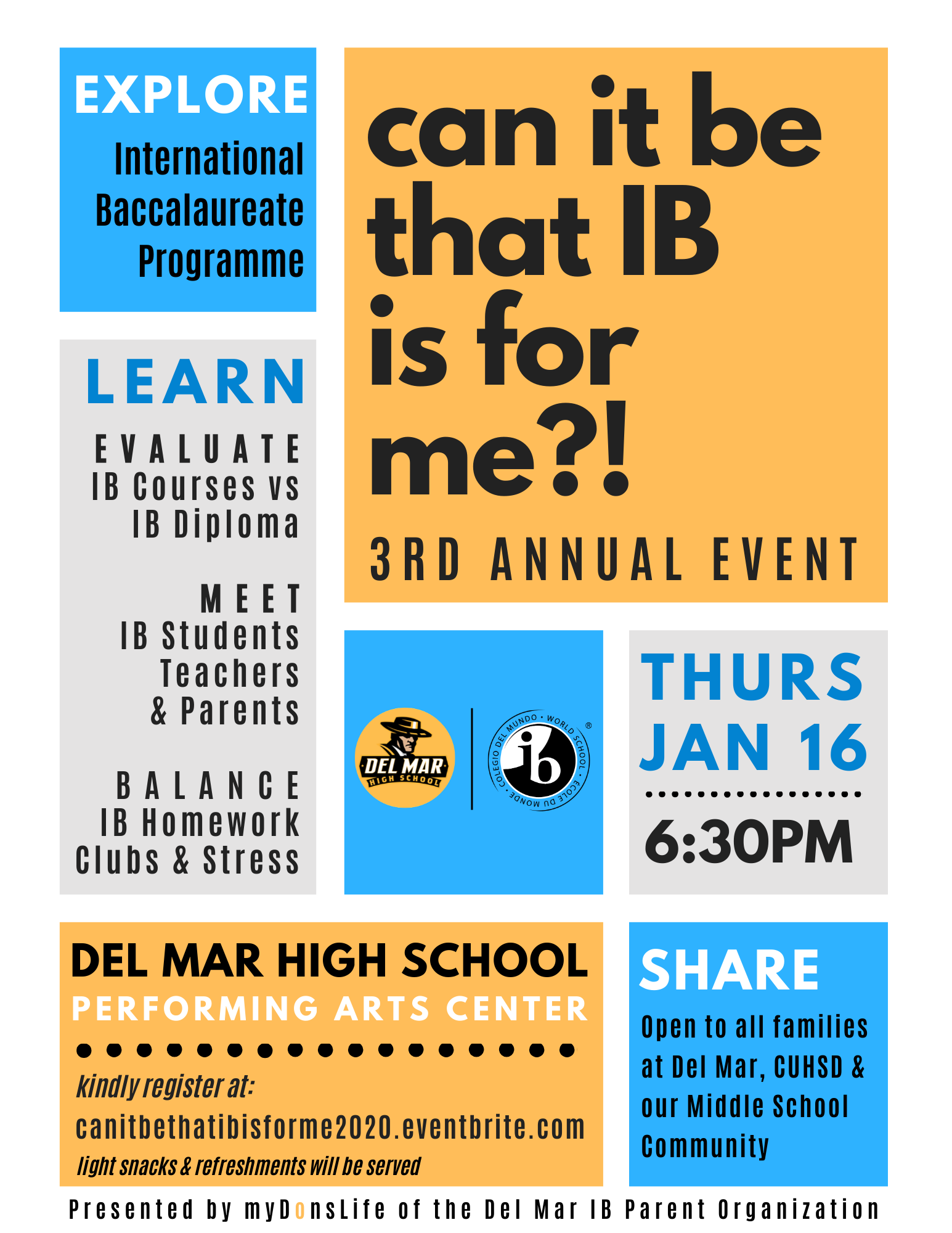 image of january 16, 2020 del mar ib talk flyer in english
