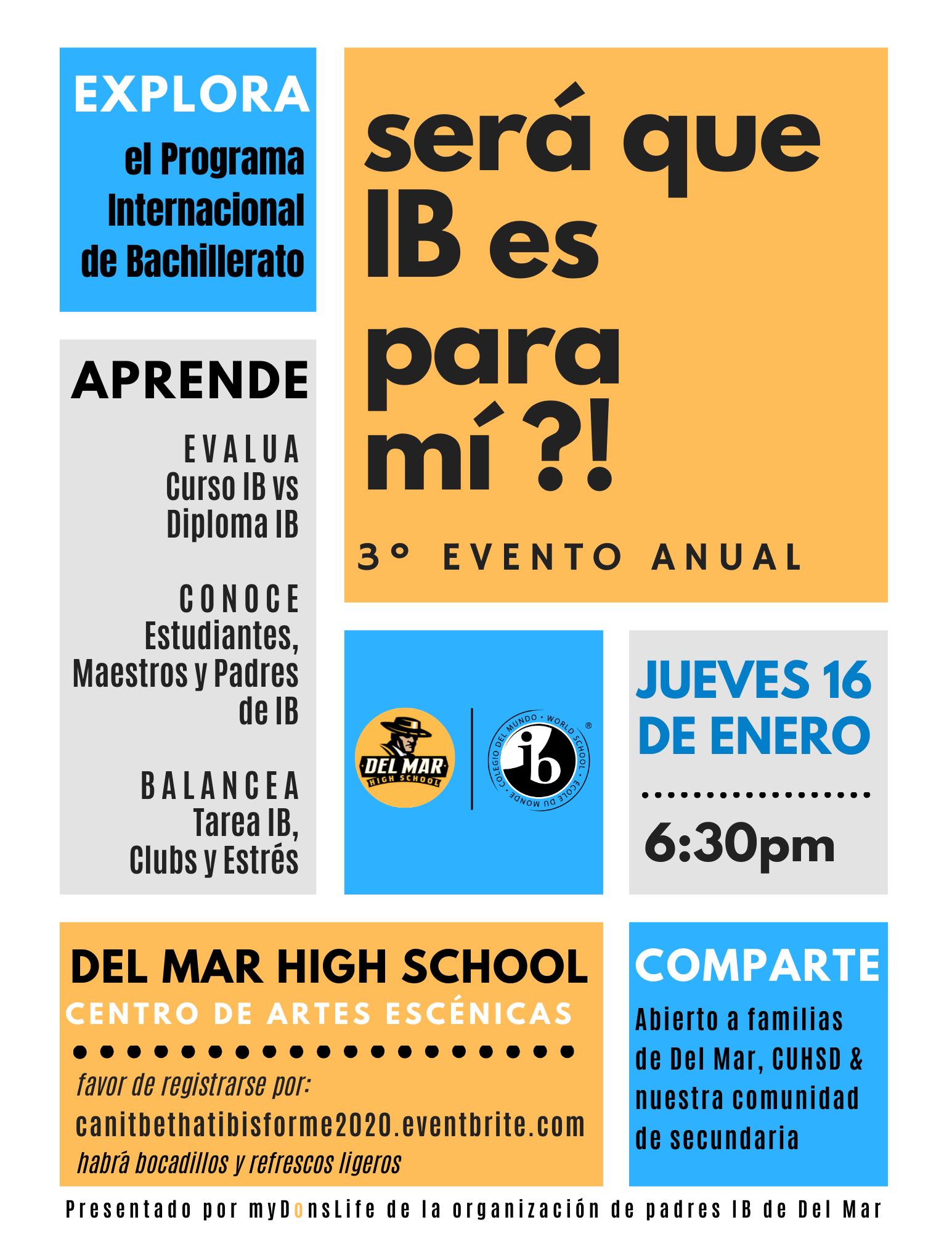 image of january 16, 2020 del mar ib talk flyer in spanish