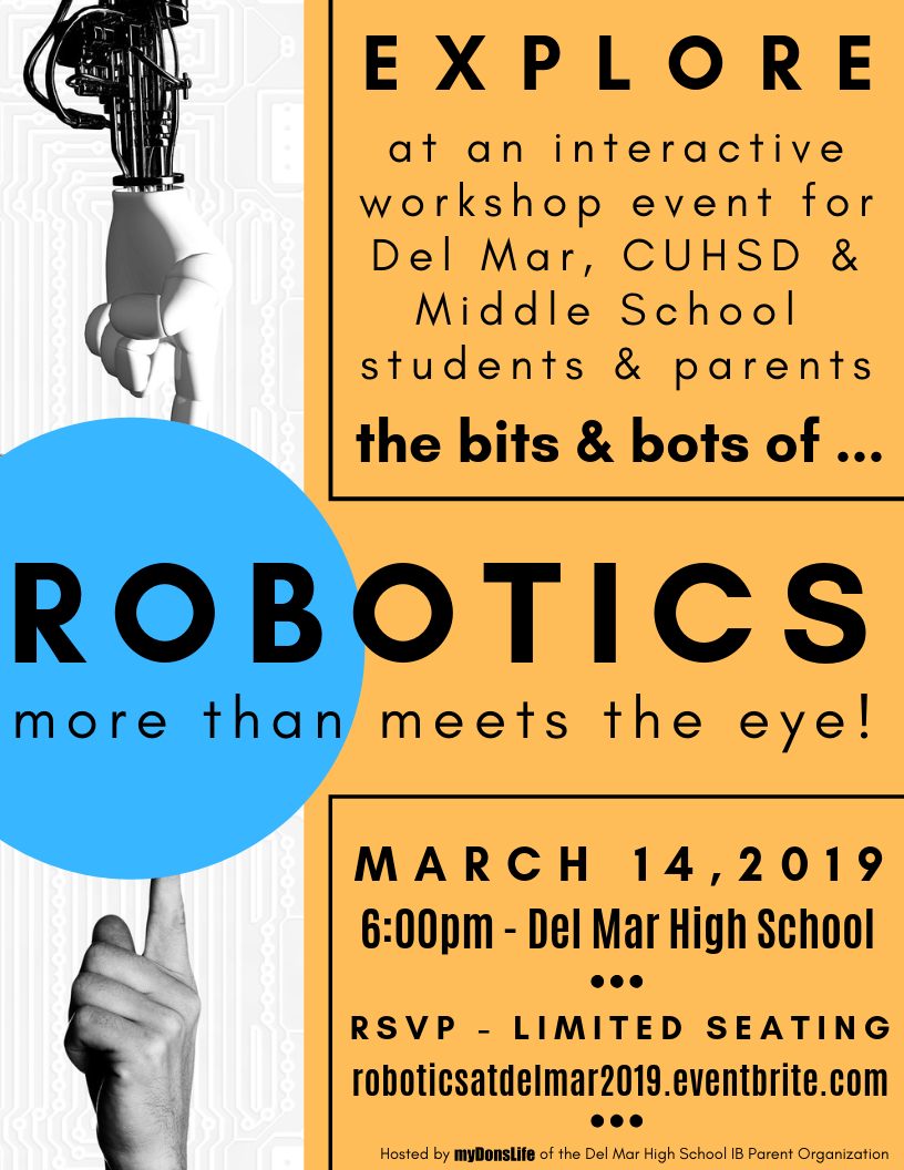 image of robotics flyer for event at del mar on march 14