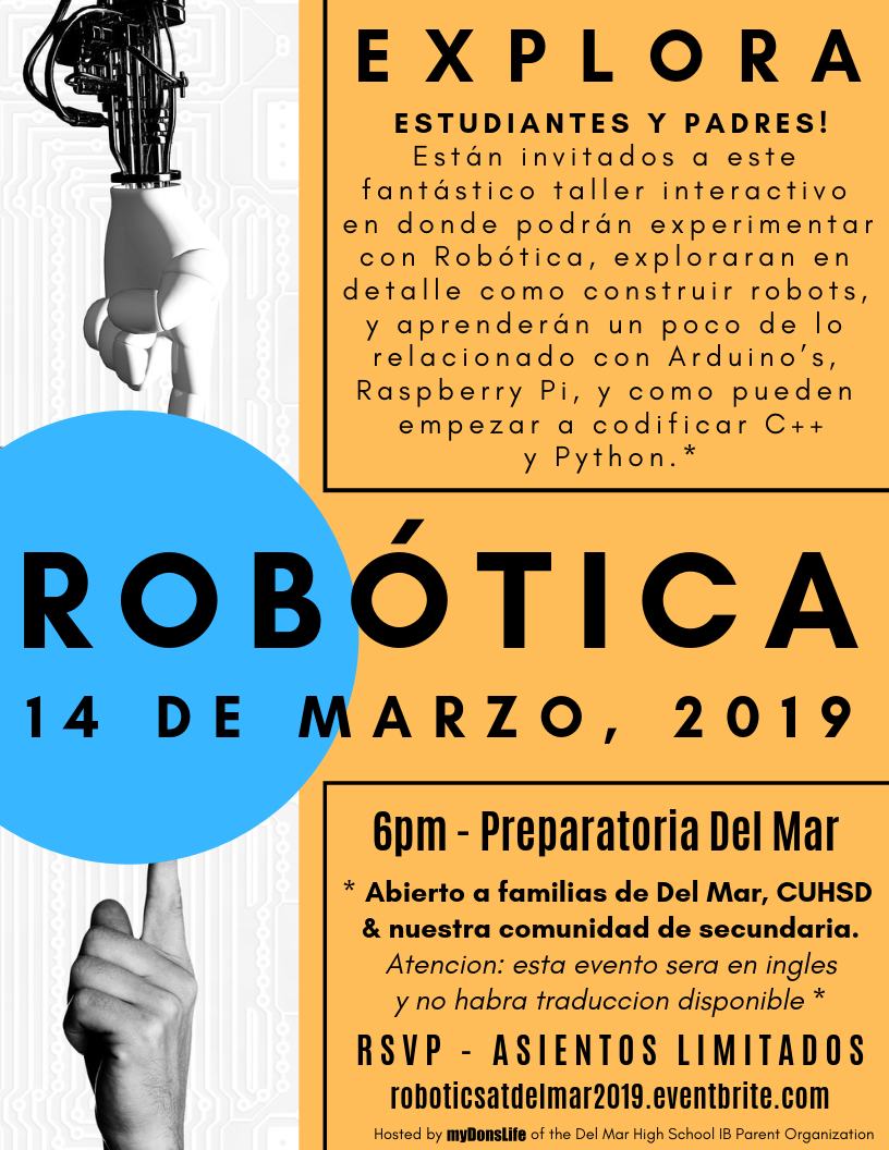 image of spanish robotics flyer for event at del mar on march 14
