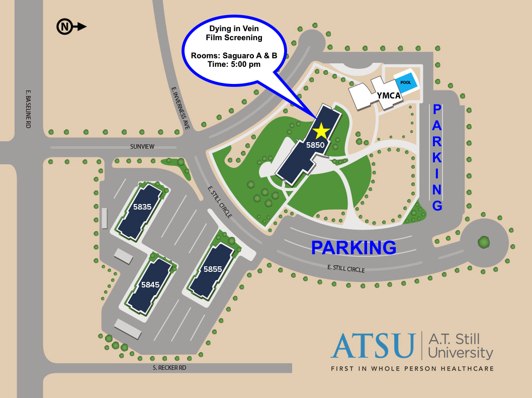 Map of ATSU campus, parking, and film room location.