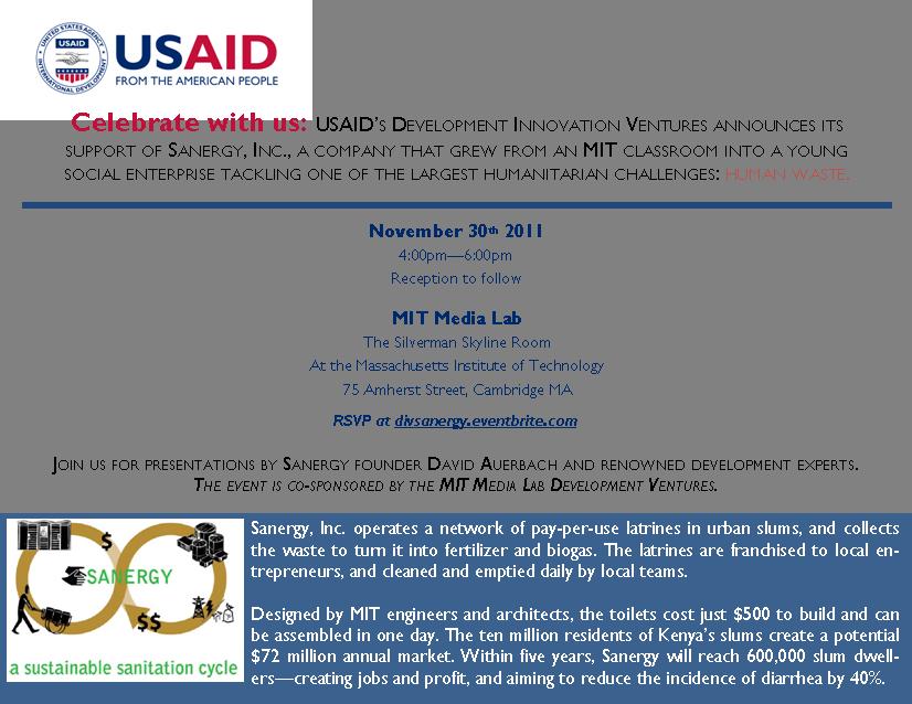 USAID/DIV announces award to Sanergy