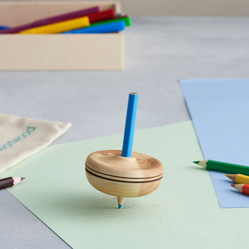 wooden pencil spinning top