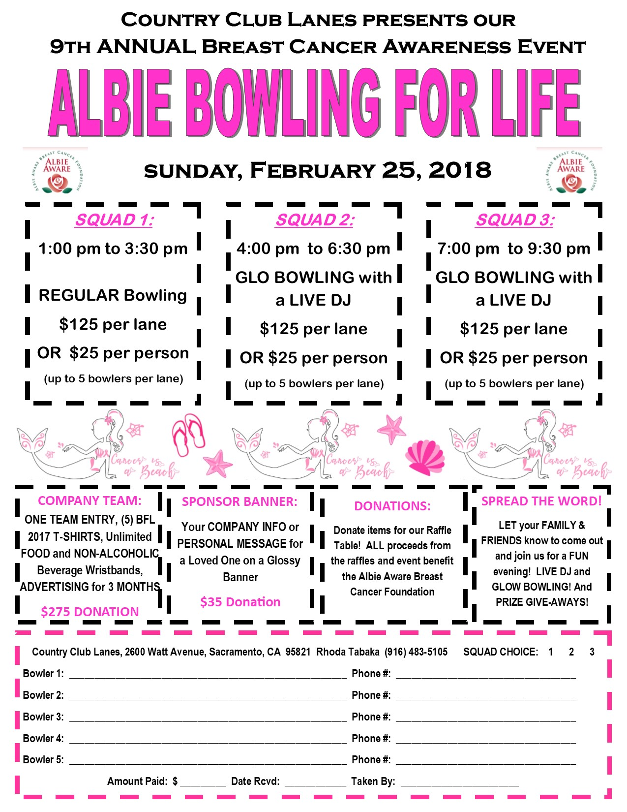 CCL Albie Bowling for Life Flyer