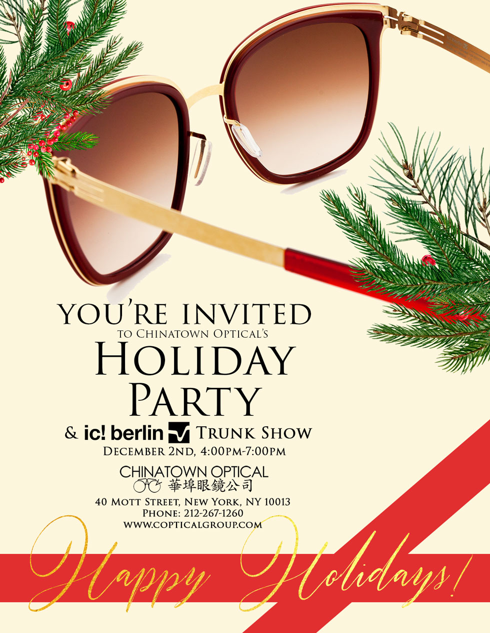 Chinatown Optical Holiday Party X ic! berlin Trunk Show