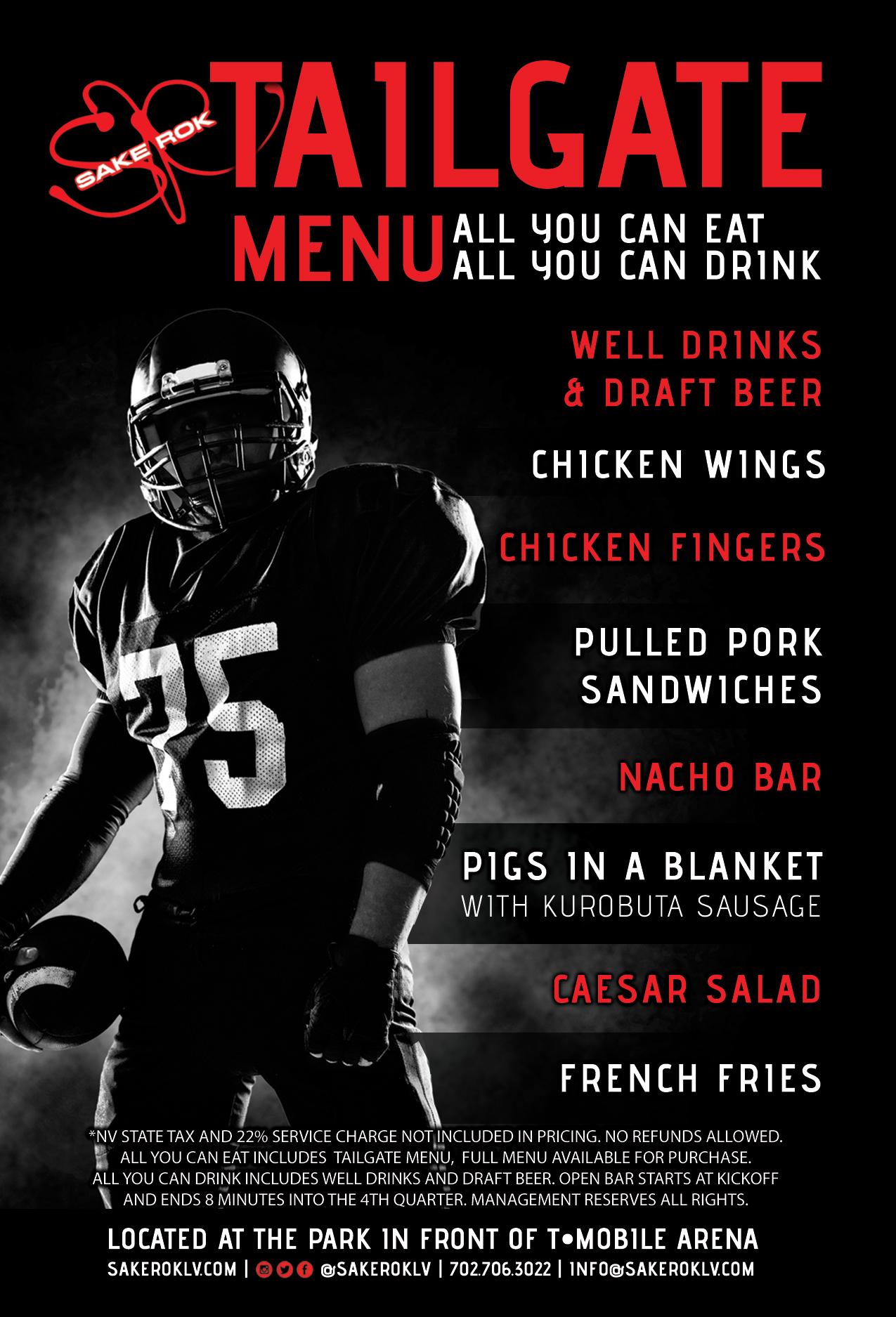 Big Game Tailgate Food and Drink Menu