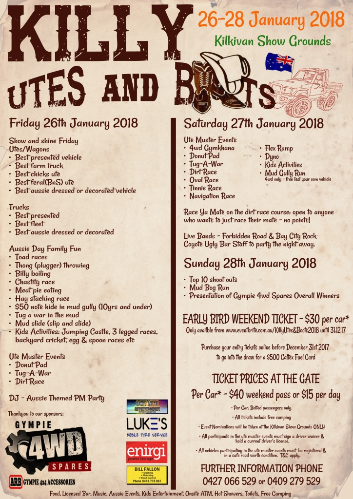 Killy Utes & Boots 2018 Flyer
