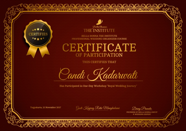 sertifikat royal wedding yogyakarta