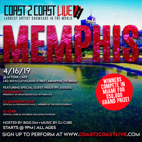Coast 2 Coast Live Artist Showcase Memphis Tn 50k Grand Prize