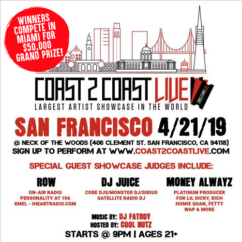 Coast 2 Coast Live Artist Showcase San Francisco Ca 50k Grand