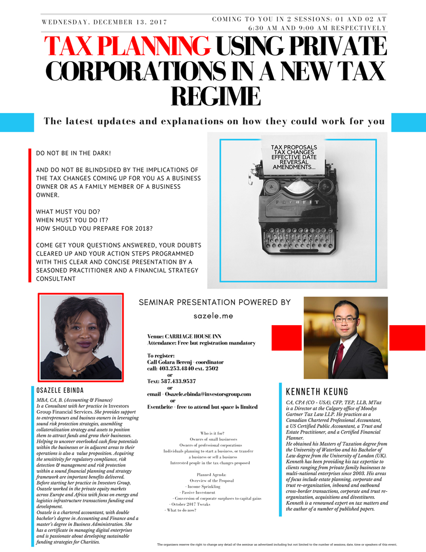 Corporate Tax Planning Event Details