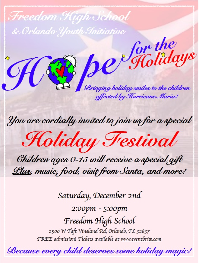 Hope for the Holidays, Holiday Festival Invite
