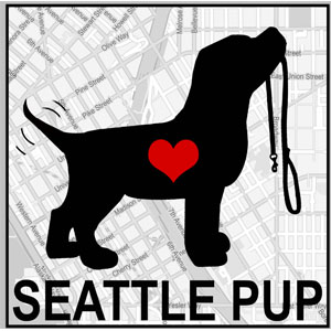 Black dog silhouette on Seattle map with heart