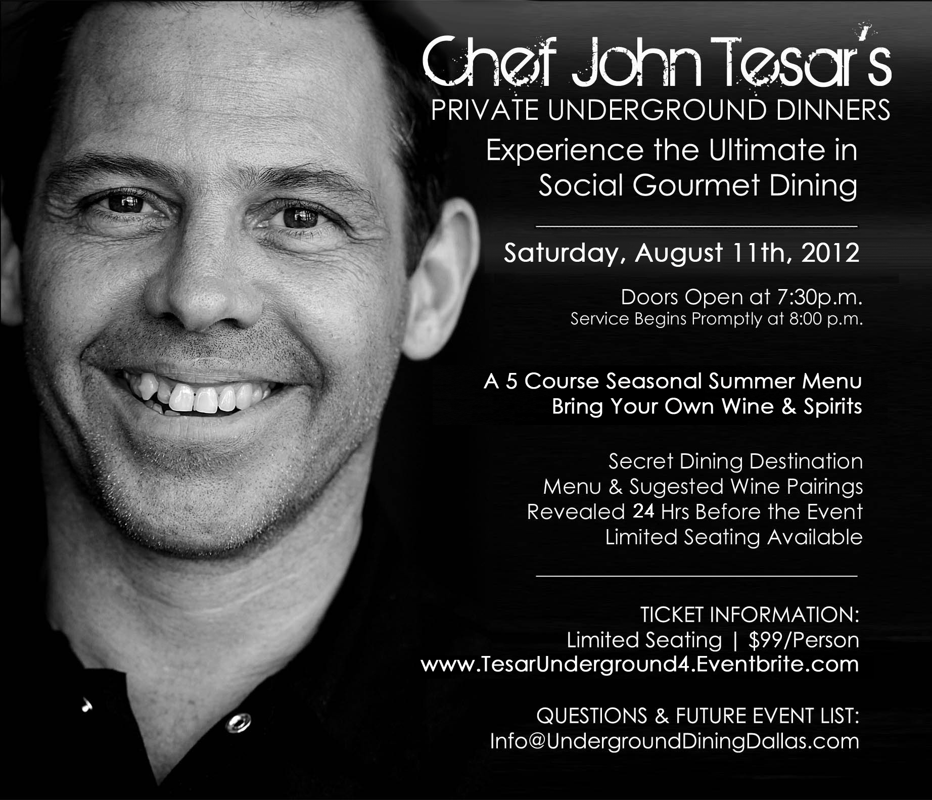 Chef John Tesar's Private Underground Dinner