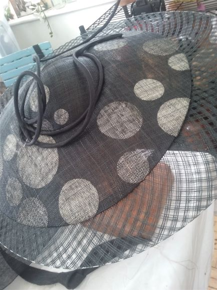 Bias hat made from sinamay