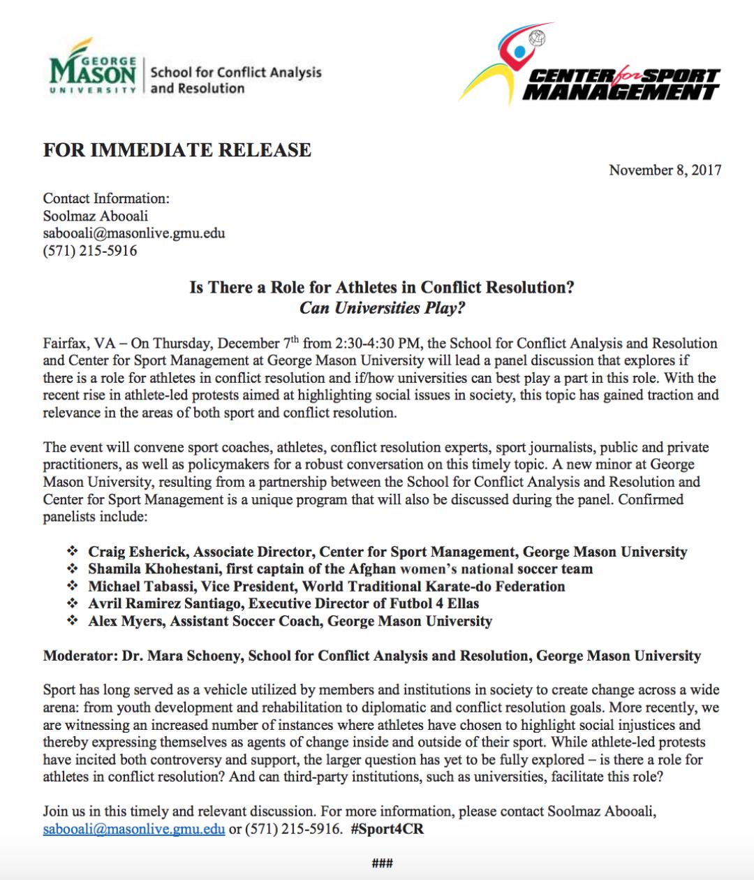 Sport4CR Press Release