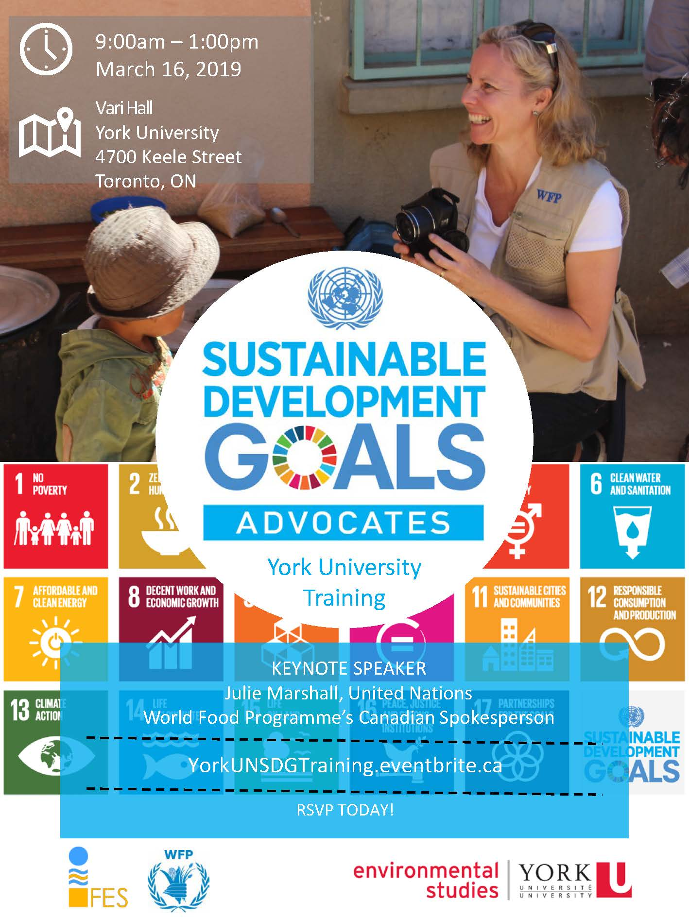 UN SDG Poster Advertisement with image of Julie Marshall and UN Sdg branded information