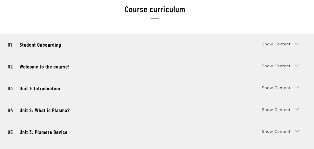 Plasma Training Curriculum