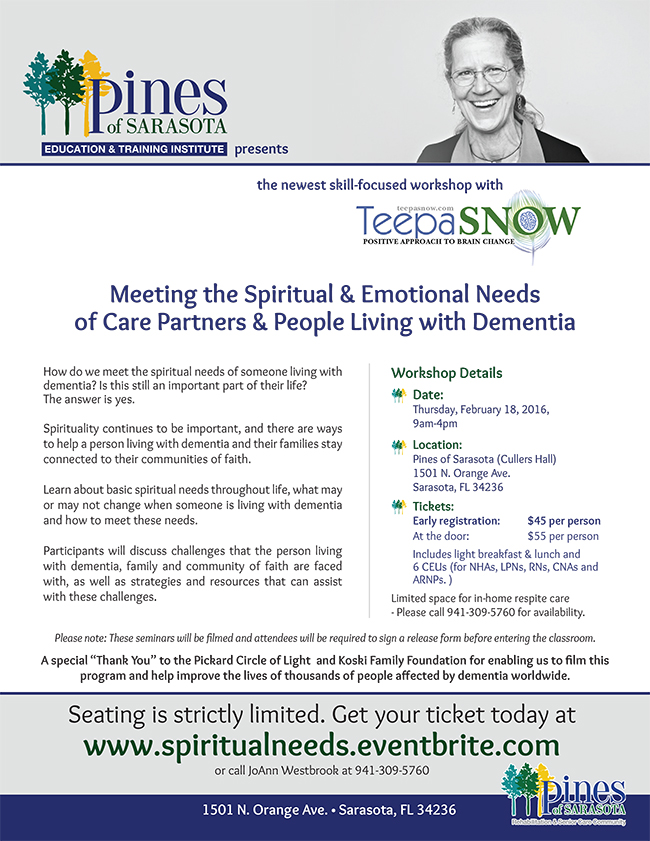 Spirituality in dementia care seminar with Teepa Snow