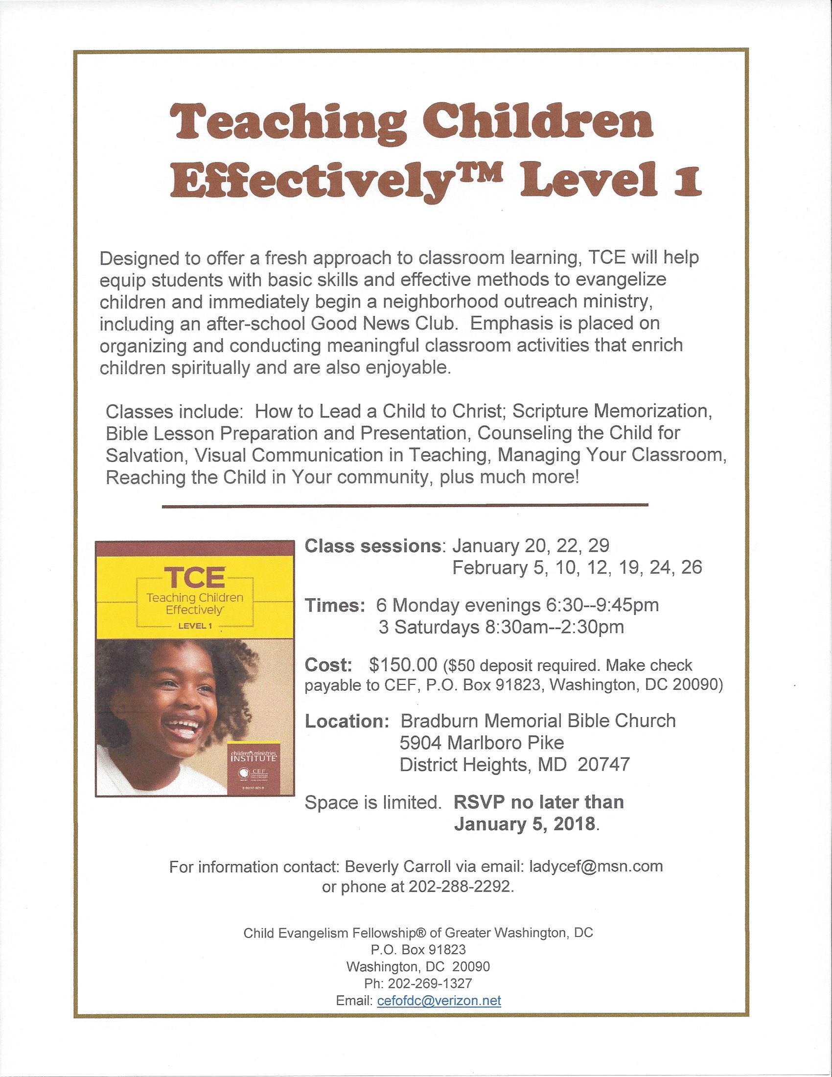 Teaching Children Effectively Level 1 Flier