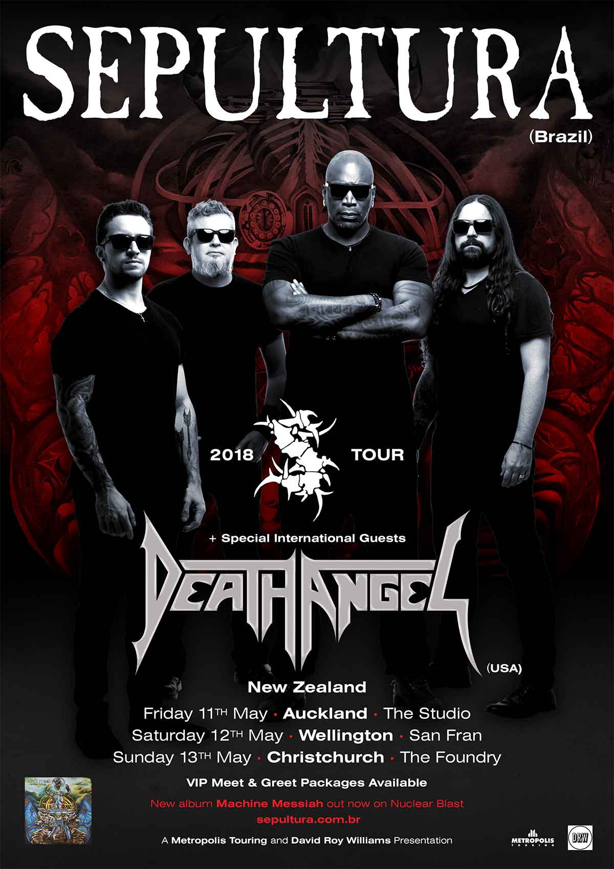 sepultura death angel new zealand