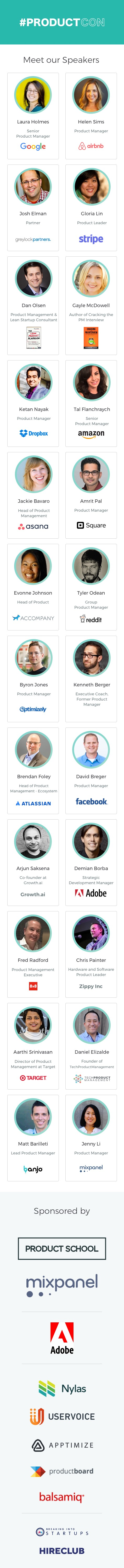 ProductCon Silicon Valley Speakers
