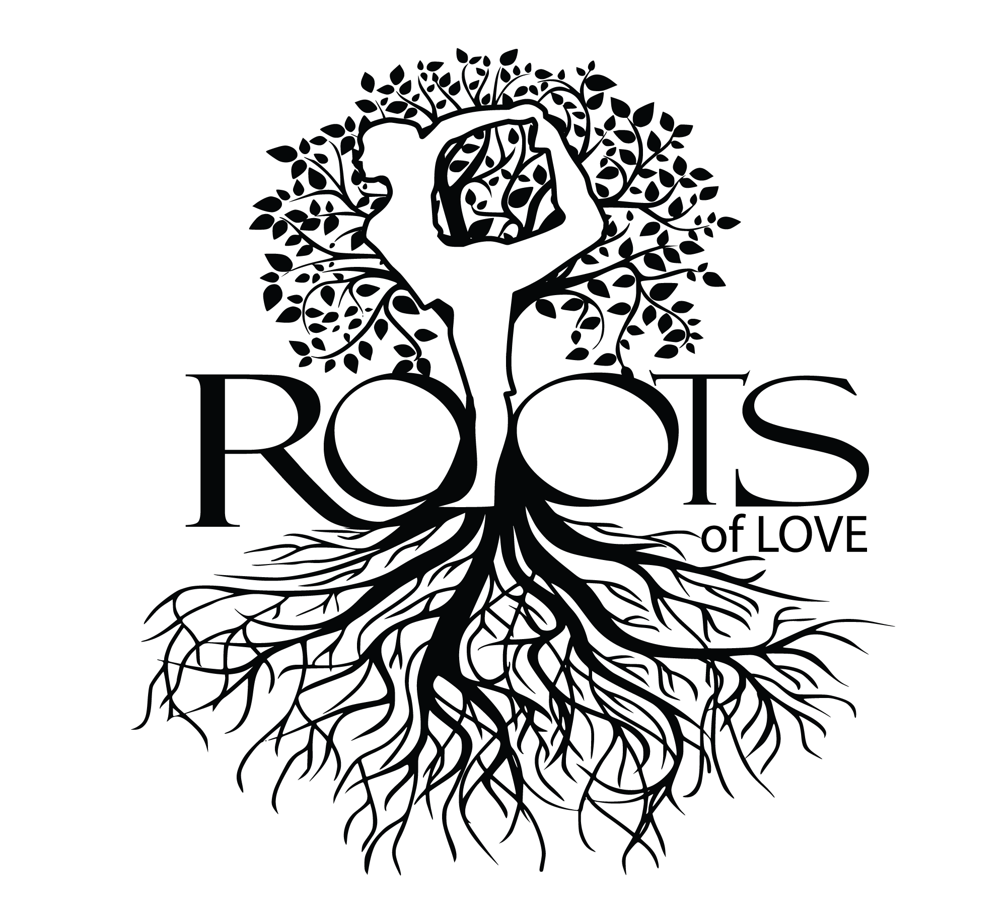 Roots of Love Logo Tree of life in Dancer Pose