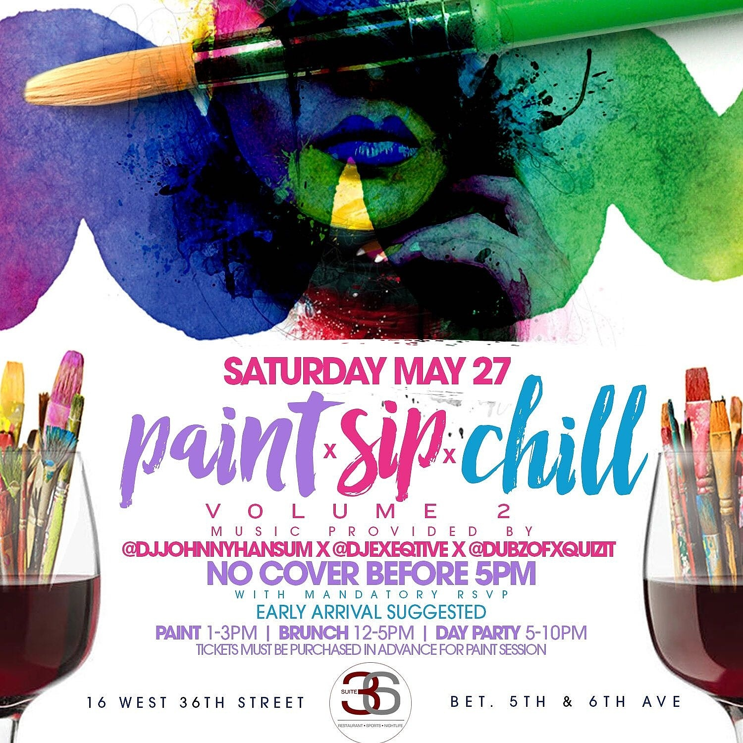 Paint sip chill 2 brunch day party tickets sat may 27 for Sip and paint