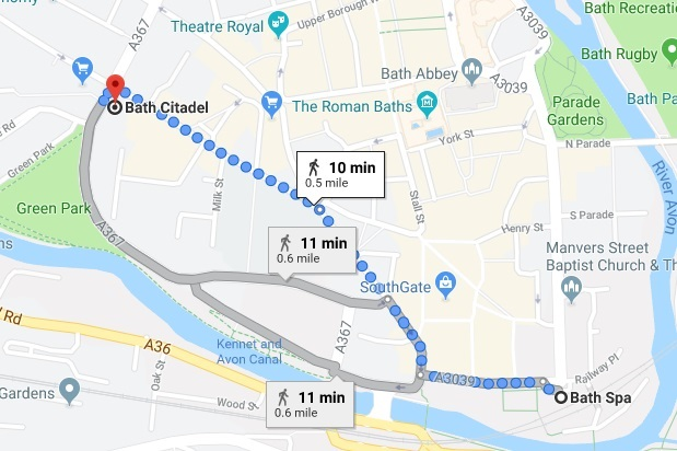 Directions from Bath Spa to Bath Citadel
