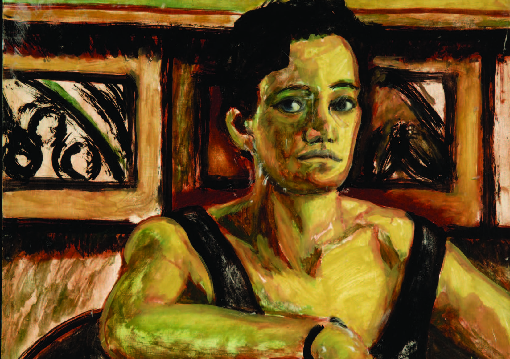 Tania Ferrier, Self Portrait (detail), 1985, oil on board, 41.5 x 54.5cm, CCWA 625. Cruthers Collection of Women's Art, The University of Western Australia. © Courtesy the artist