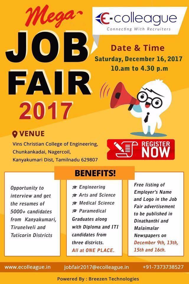 job fair in nagercoil, chennai, coimbatore, bangalore