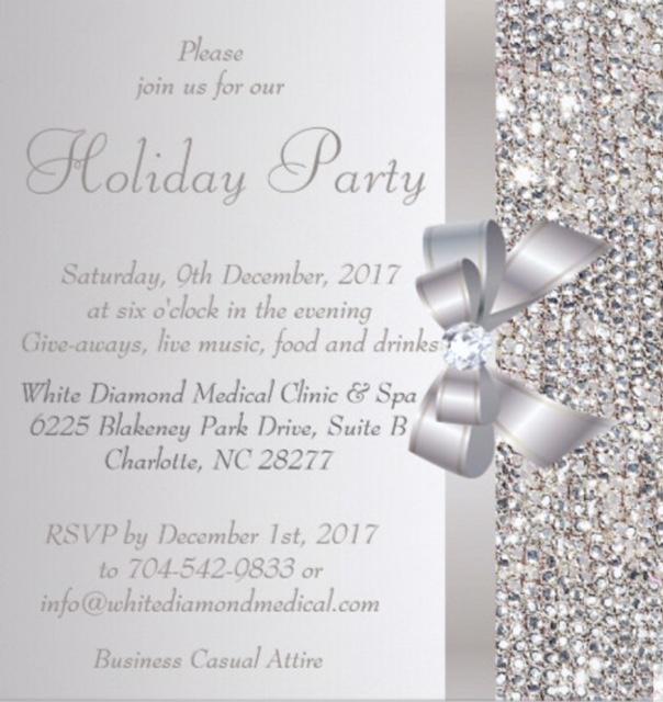 White Diamond Holiday Party Invite