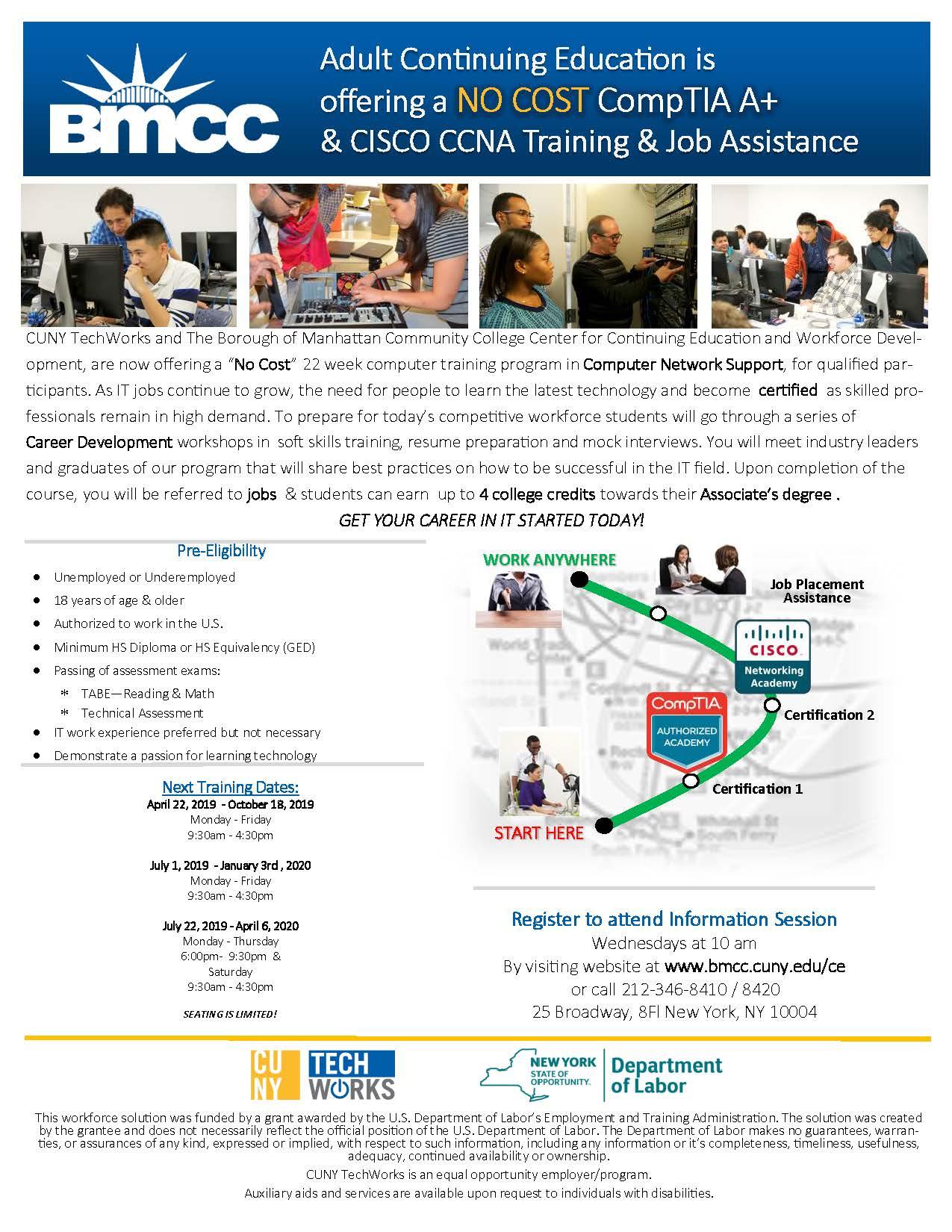 NO COST- CompTIA A+ & CISCO CCNA Training and Job Assistance