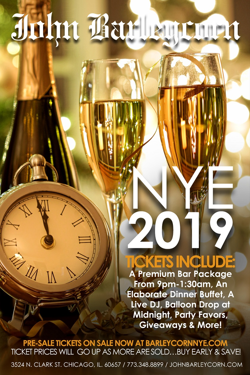 John Barleycorn New Year's Eve Party - Tickets Include A Premium Bar Package From 9pm-1:30am, An Elaborate Dinner Buffet, Live DJs, Balloon Drop at Midnight, Party Favors, Giveaways & More!
