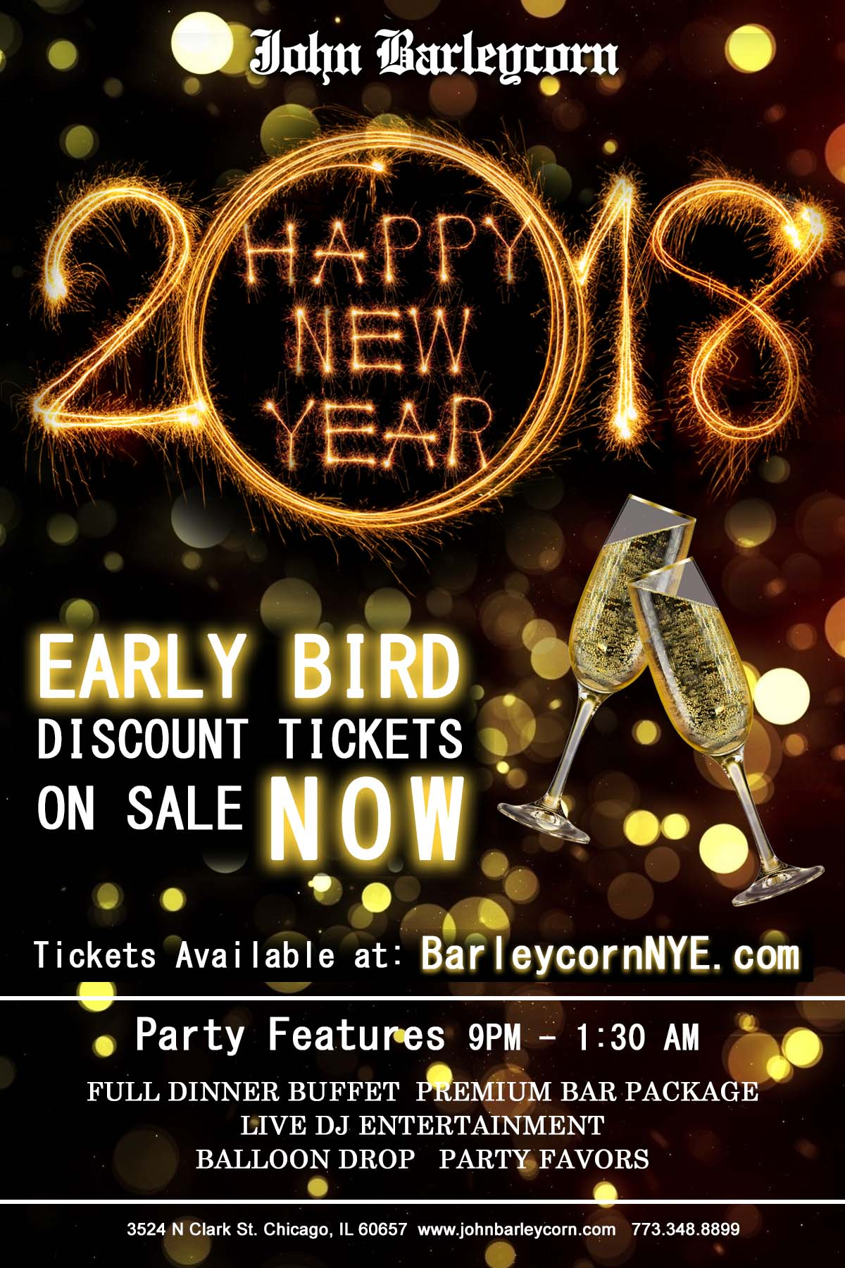 John Barleycorn New Year's Eve Party - Tickets Include a Full Dinner Buffet, Premium Bar Package from 9pm-1:30am, Live DJ Entertainment, Balloon Drop and More!
