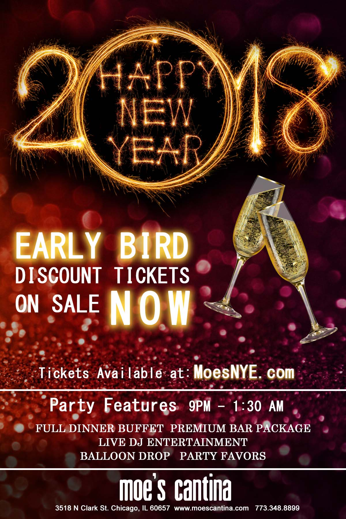 Moe's Cantina Wrigleyville New Year's Eve Party - Tickets Include a Full Dinner Buffet, Premium Bar Package from 9pm-1:30am, Live DJ Entertainment, Balloon Drop and More!