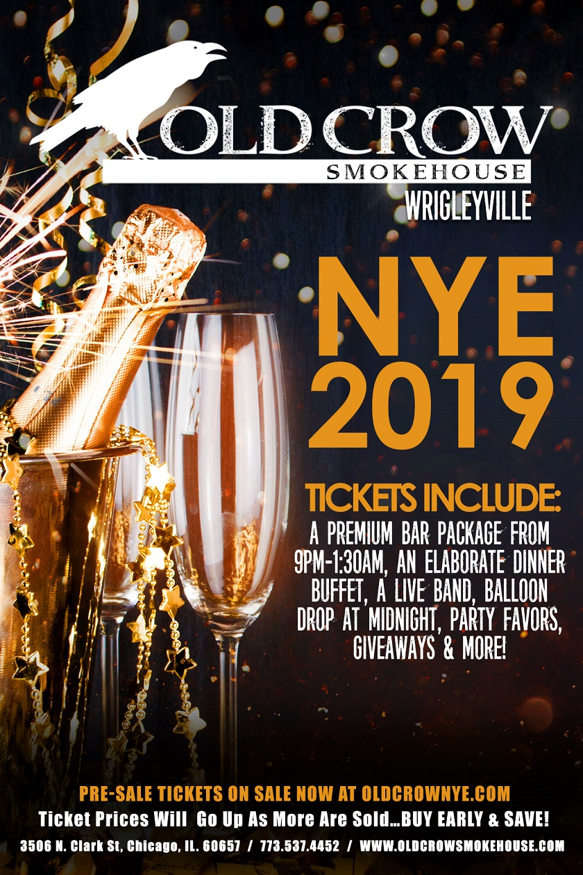 Old Crow Smokehouse Wrigleyville New Year's Eve Party - Tickets Include A Premium Bar Package From 9pm-1:30am, An Elaborate Dinner Buffet, A Live Band, Balloon Drop at Midnight, Party Favors, Giveaways & More!