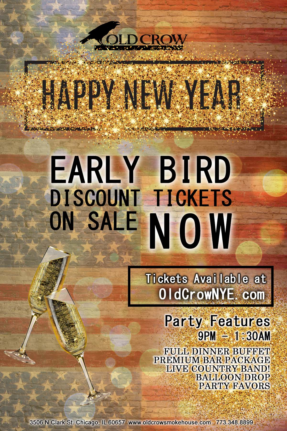Old Crow Smokehouse Wrigleyville New Year's Eve Party - Tickets include a Full Dinner Buffet, Premium Bar Package from 9pm-1:30am, Live Country Band, Balloon Drop and More!