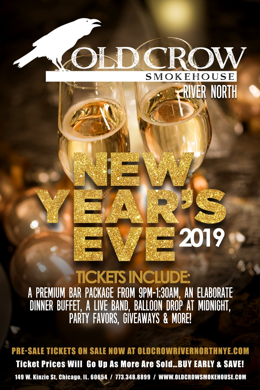 Old Crow Smokehouse River North New Year's Eve Party - Tickets Include A Premium Bar Package From 9pm-1:30am, An Elaborate Dinner Buffet, A Live Band, Balloon Drop at Midnight, Party Favors, Giveaways & More!