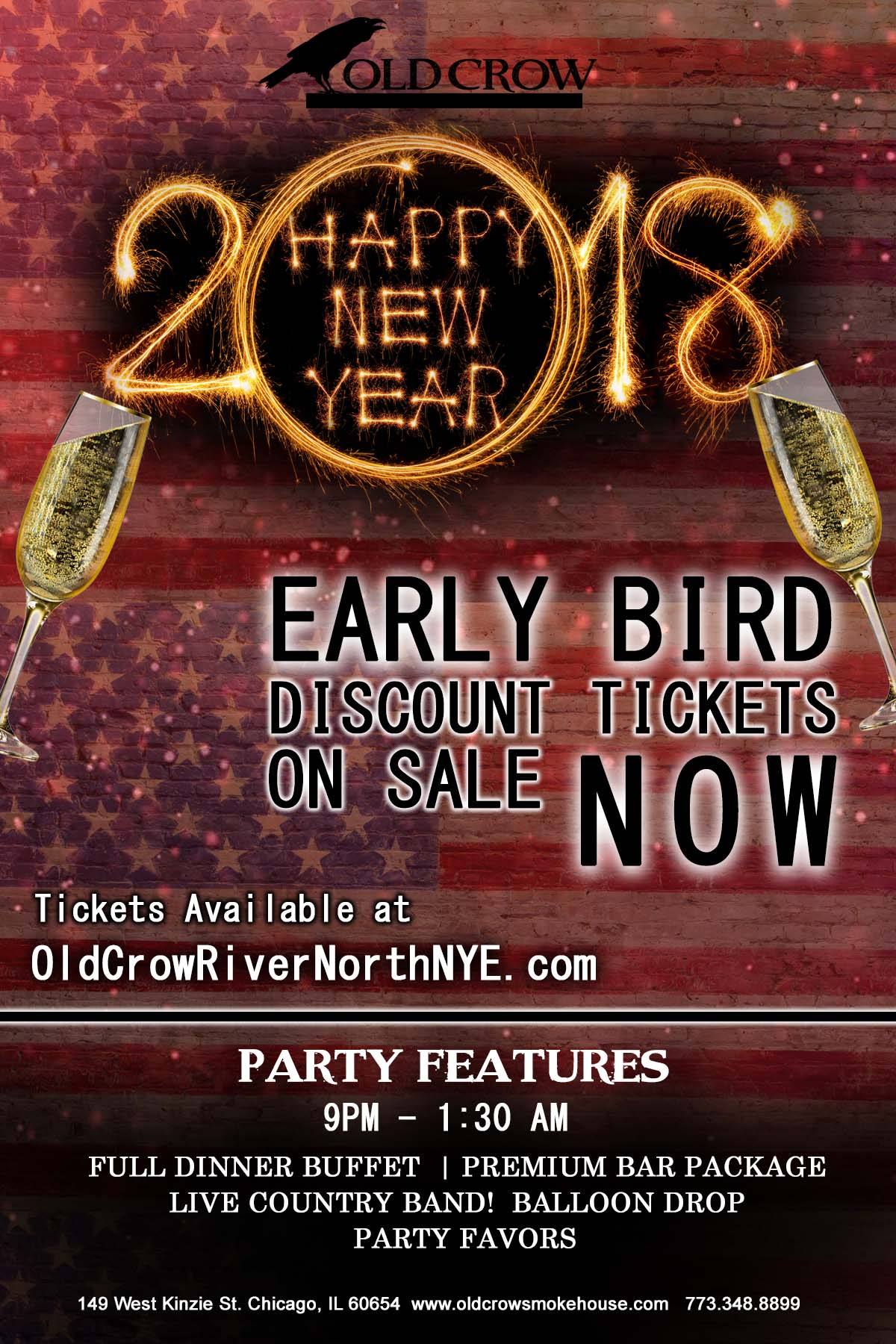 Old Crow Smokehouse River North New Year's Eve Party - Tickets include a Full Dinner Buffet, Premium Bar Package from 9pm-1:30am, Live Country Band, Balloon Drop and More!