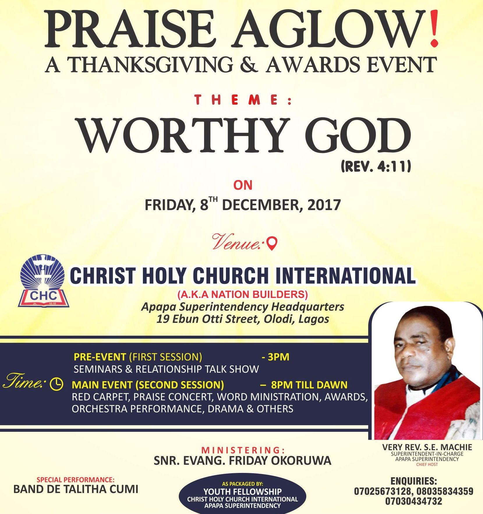 PRAISE AGLOW - A THANKSGIVING & AWARDS EVENT