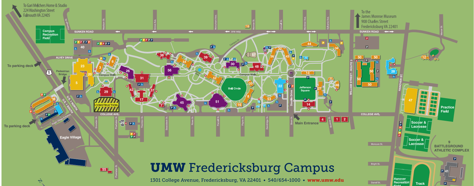 Umw Campus Map Mary Washington Campus Map | autobedrijfmaatje