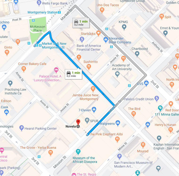 Walking directions from Montgomery BART station
