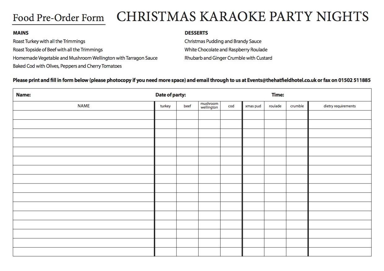 party night pre order form