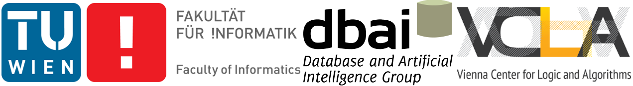 TU Wien, Faculty of Informatics, DBAI group, and VCLA logos.