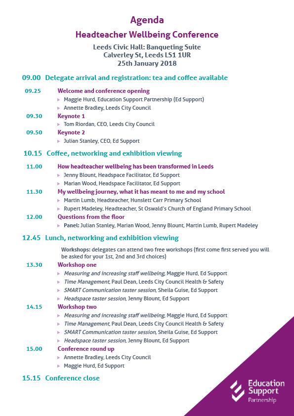 Headteacher Wellbeing Conference Agenda