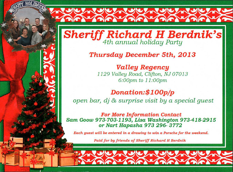 SHERIFF RICHARD H. BERDNIK'S 4TH ANNUAL HOLIDAY PARTY
